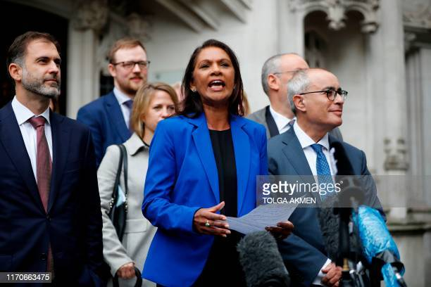 Anti-Brexit campaigner Gina Miller speaks to the media outside the Supreme court in central London on September 24, 2019 after the judgement of the...