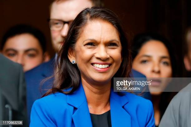 Anti-Brexit campaigner Gina Miller waits to speak to the media outside the Supreme court in central London on September 24, 2019 after the judgement...