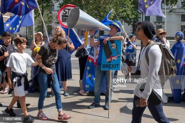 AntiBrexit campaigner Steve Bray protests outside the Cabinet Office in London England on 8 August 2019
