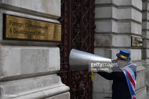 Anti-Brexit campaigner Steve Bray shouts through his megaphone loud hailer outside the Foreign, Commonwealth and development Office in Westminster on...