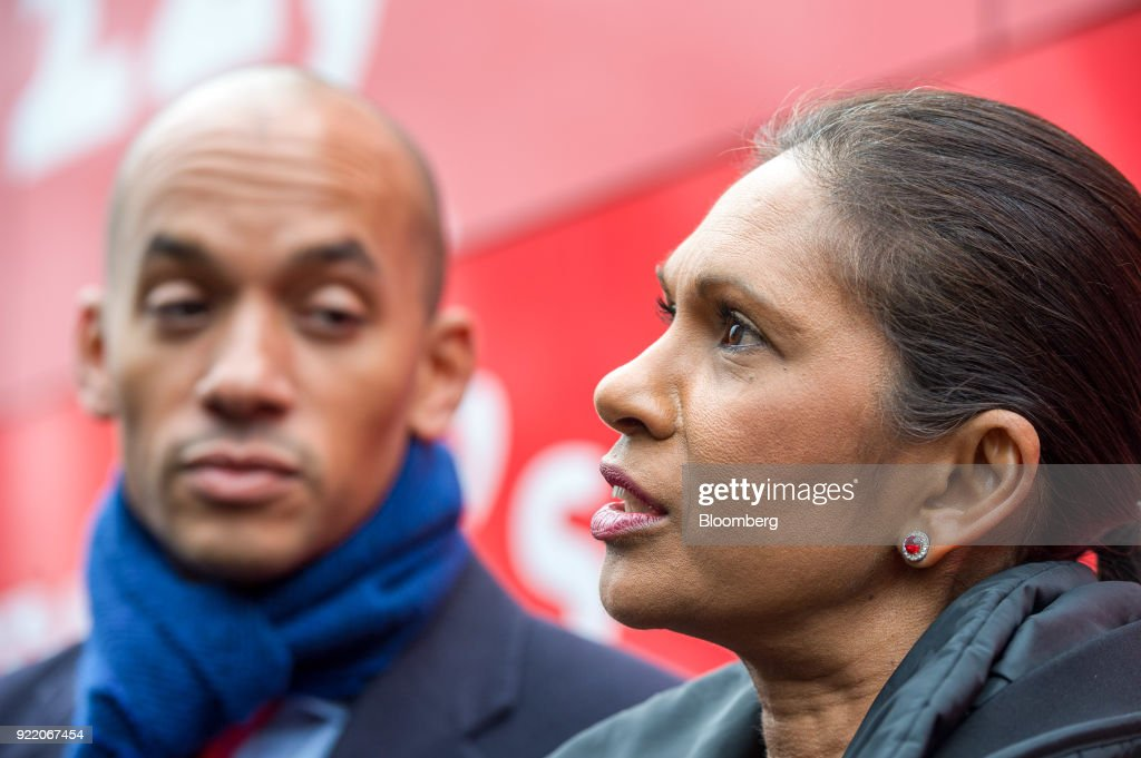 Anti-brexit campaigners Gina Miller, founding partner of SCM Private LLP, right, and Chuka Umunna, U.K. lawmaker for the opposition Labour party, talk to the media in front of a bus with the campaign motto: 'Brexit to cost £2,000 million a week says government's own report. Is it worth it?' during its inauguration in London, U.K., on Wednesday, Feb. 21, 2018. With talk of a second referendum in the air, opponents of Brexit have decided to take their own red bus on the road. Photographer: Chris J. Ratcliffe/Bloomberg via Getty Images