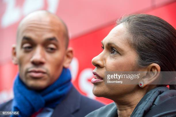 Antibrexit campaigners Gina Miller founding partner of SCM Private LLP right and Chuka Umunna UK lawmaker for the opposition Labour party talk to the...