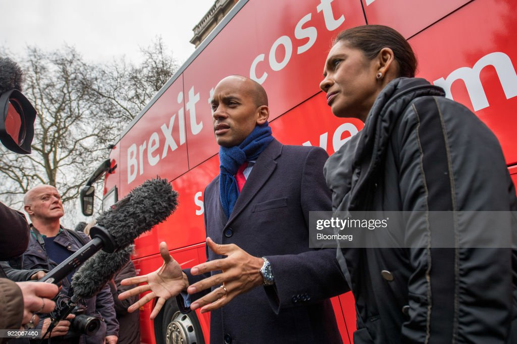 Anti-brexit campaigners Gina Miller, founding partner of SCM Private LLP, right, and Chuka Umunna, U.K. lawmaker for the opposition Labour party, talk to the media in front of a bus with the campaign motto: 'Brexit to cost £2,000 million a week saysgovernment's own report. Is it worth it?' during its inauguration in London, U.K., on Wednesday, Feb. 21, 2018. With talk of a second referendum in the air, opponents of Brexit have decided to take their own red bus on the road. Photographer: Chris J. Ratcliffe/Bloomberg via Getty Images