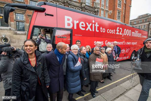 Antibrexit campaigners including Gina Miller founding partner of SCM Private LLP left and Chuka Umunna UK lawmaker for the opposition Labour party...