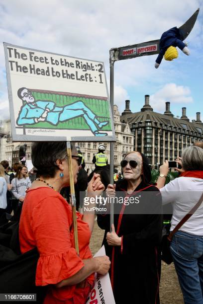 AntiBrexit demonstrations protest at Parlament Square London England on Saturday September 7 2019 The protests took place amid strong tension in UK's...