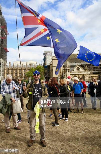 AntiBrexit demonstrator protest at Parlament Square London England on Saturday September 7 2019 The protests took place amid strong tension in UK's...