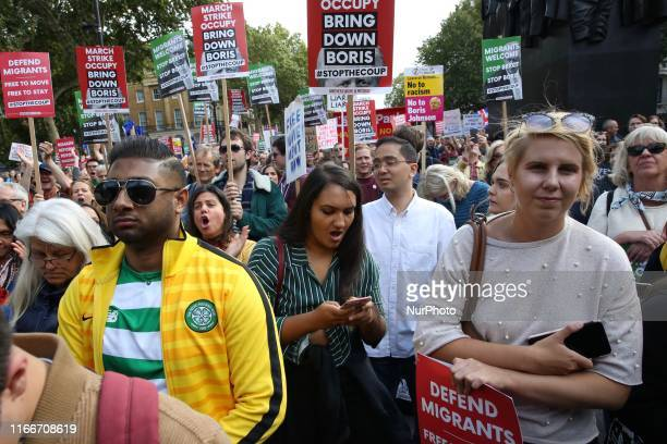 AntiBrexit demonstrators protest in front of Downing Street London England on Saturday September 7 2019 The protests took place amid strong tension...
