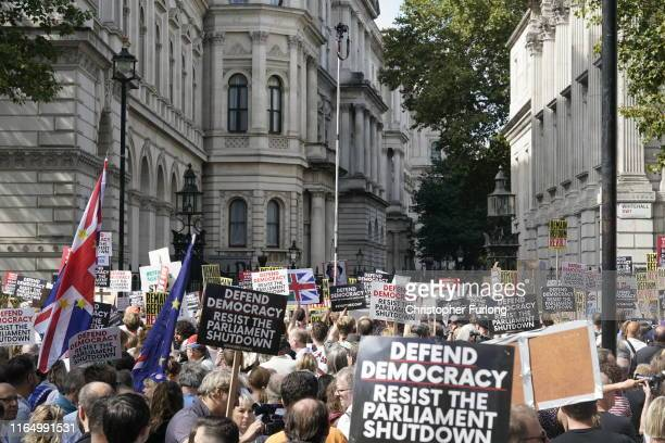 AntiBrexit demonstrators protest in Whitehall on August 31 2019 in London England Leftwing group Momentum and the People's Assembly are coordinating...