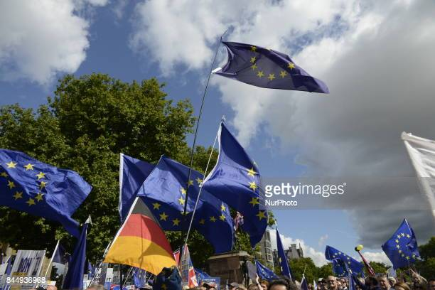 AntiBrexit demonstrators take part to the march for Europe on September 9 2017 in London United Kingdom The British people voted to leave the...