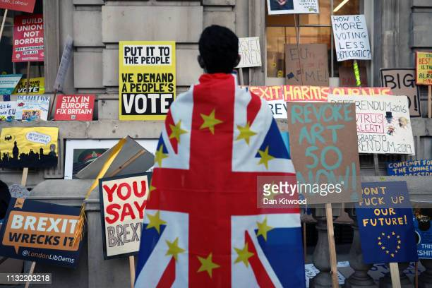 AntiBrexit placards are placed outside the entrance to the Cabinet Office on Whitehall during the Put It To The People March on March 23 2019 in...