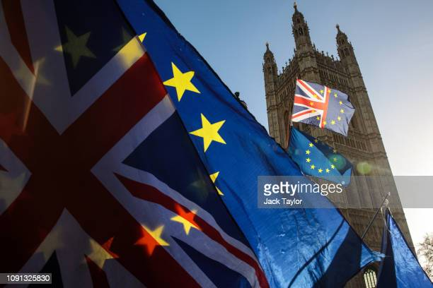Anti-Brexit protesters demonstrate outside the Houses of Parliament in Westminster on January 08, 2019 in London, England. MPs in Parliament are to...