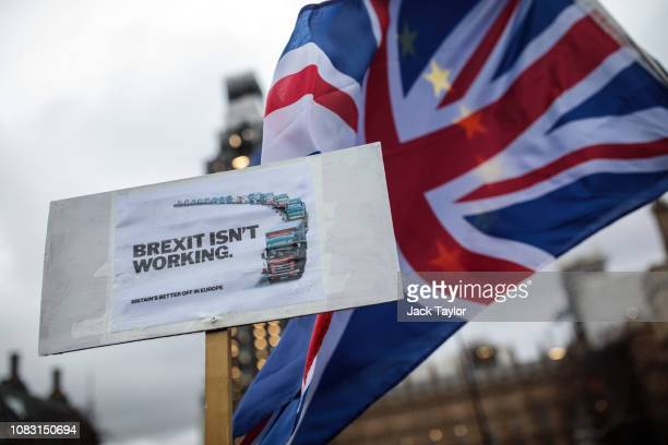 AntiBrexit protesters demonstrate outside the Houses of Parliament on January 15 2019 in London England Theresa May's Brexit deal finally reaches the...