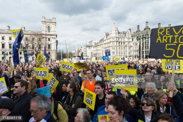 AntiBrexit protesters take part in a rally in Parliament Square after over 1 million people took part in the antiBrexit 'Put it to the People' march...
