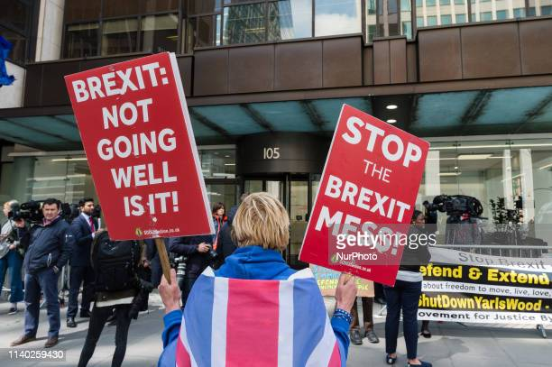 AntiBrexit protestors gather outside Labout Party headquarters for a meeting of the National Executive Committee of the Labour Party on 30 April 2019...
