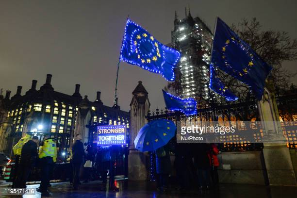 AntiBrexit protestors seen outside the Houses of Parliament in London On Wednesday 22 January 2019 in London United Kingdom