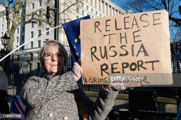 Anti-Brexit supporters protest outside Downing Street in Westminster urging Prime Minister Boris Johnson to release the report from the intelligence...