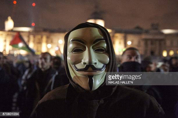 Anticapitalist demonstrators gather in Trafalgar Square during the 'Million Masks March' organised by the group Anonymous in London on November 5...