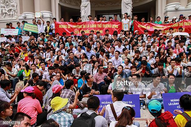 Anti-China Vietnamese protesters gathered in front of Ho Chi Minh Opera House to demonstrate their patriotism and anger towards Chinese oil rig's...