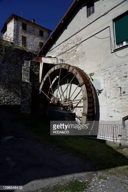 Antico Molino Ocelli. Ancient disused mill near the Trebbia river in the village of Bobbio. Emilia Romagna. Italy. Europe.