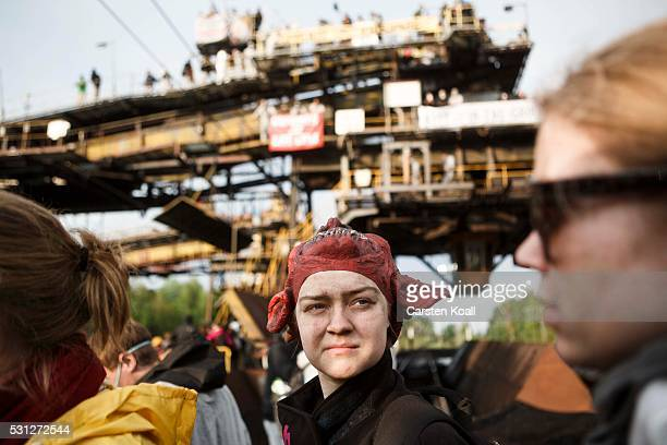 Anticoal activists occupay a loading station close to the Welzow Sued openpit coal mine on May 13 2016 near Spremberg Germany The activists part of a...