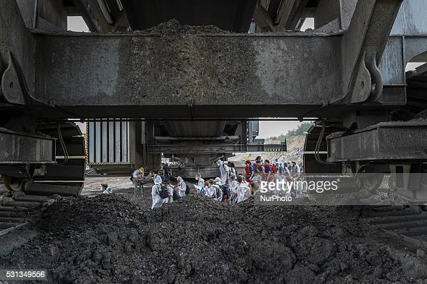 Anticoal activists occupy a loading station close to the Welzow Sued openpit coal mine on May 13 2016 near Spremberg Germany The activists part of a...