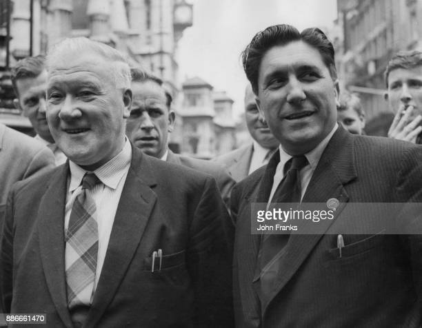 Anticommunist activists Jock Byrne and Frank Chapple two members of the Electrical Trades Union after winning an action against Communist members...