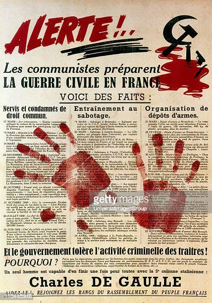 AntiCommunist proGaullist poster containing support for De Gaulle and a warning against descent into civil war in France