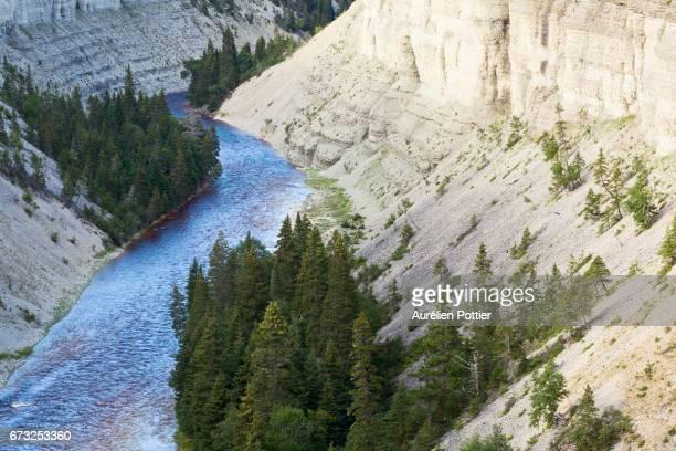 anticosti, river vaureal and its canyon - espineta imagens e fotografias de stock