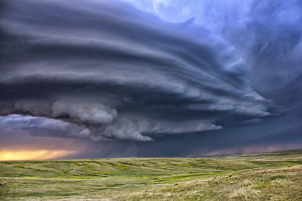 Anticyclonic Supercell Thunderstorm Over The Plains, Deer Trail, Colorado, USA Wall Art