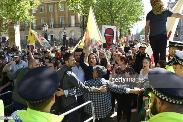 AntiErdogan protester outside Downing Street as Turkish President Recep Tayyip Erdogan meets the Prime Minister on May 15 2018 in London England...