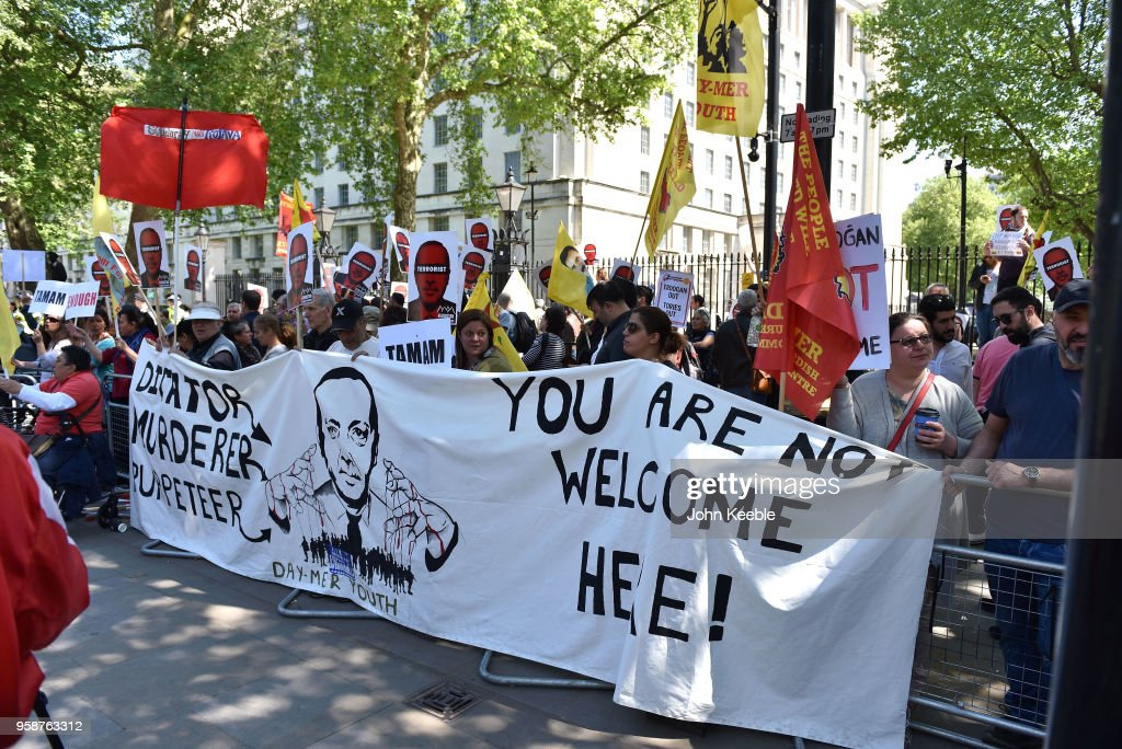 Protests Take Place Outside Downing Street Ahead Of Turkish Prime Minister's Visit : News Photo
