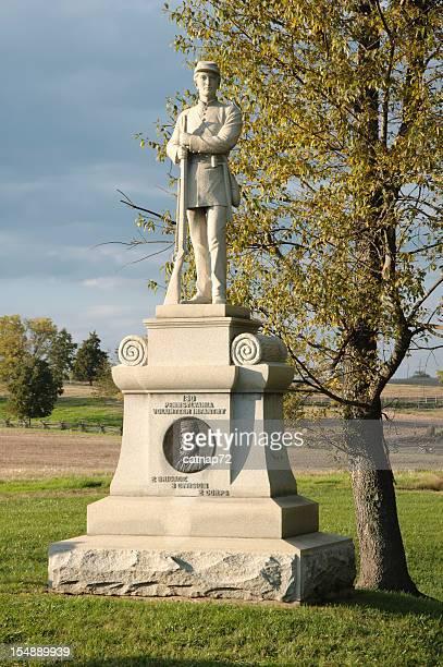 antietam battlefield civil war monument, bloody lane - antietam national battlefield stock photos and pictures