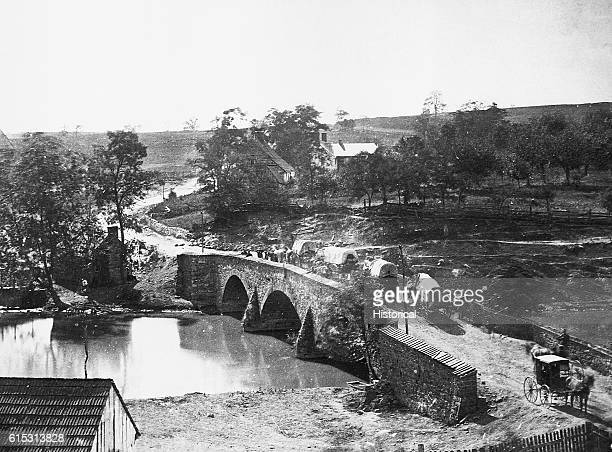 Antietam Bridge in Antietam Maryland site of the bloodiest battle of the Civil War in which General McClellan of the Union army defeated Robert E Lee...