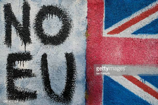 AntiEuropean Union graffiti is daubed on the wall of a bus stop next to a remote stretch of road crossing the Yorkshire Moors on December 13 2018 in...