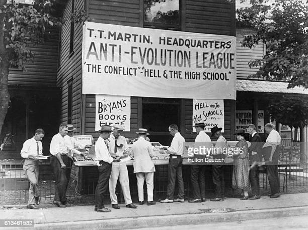 Antievolution books for sale in Dayton Tennessee where Professor John T Scopes is on trial for teaching the theory of evolution in public schools