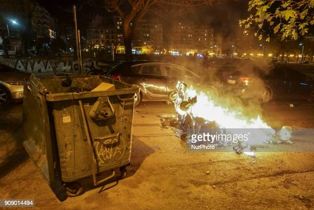 Antifa Anarchist and Leftist groups demonstrate and fight with the police in Thessaloniki Greece on 22 January 2018 An antifaoccupied building...