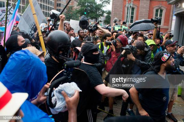 Antifa and counter protestors to a farright rally attempt to block the exit from Lafyette Square before Unite the Right demonstrators leave in...
