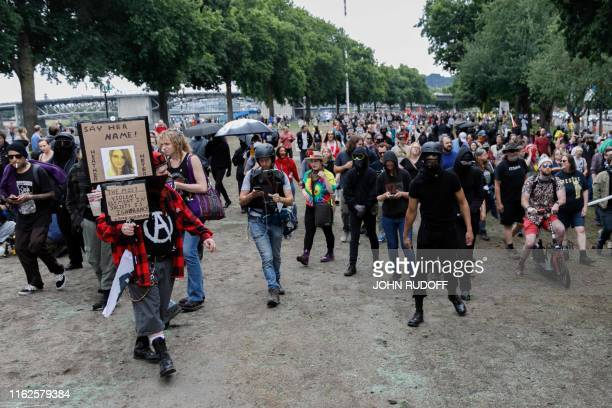 Antifa begin a march to the Burnside Bridge to try to confront the Proud Boys as hundreds of members of the extreme right including Proud Boys...