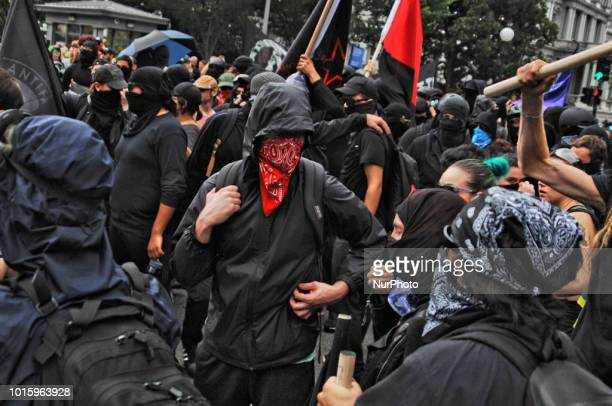 Antifa in solidarity with Anti Racist activists from DC Disrupt Unite the Right and shut down portions of downtown Washington DC on August 12 2018...