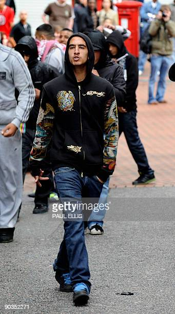 Antifascist campaigners gather to demonstrate against members of the English Defence League in Birmingham central England on September 5 2009 There...