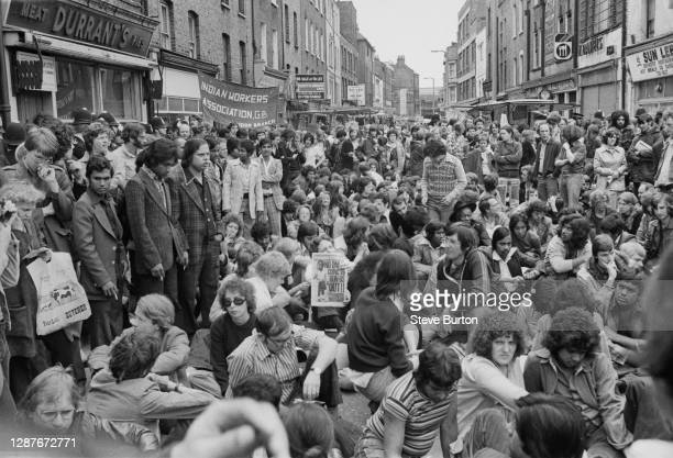 Anti-fascist demonstrators, organised by the Hackney and Tower Hamlets Defence Committee and the Anti-Nazi League , protest against National Front...
