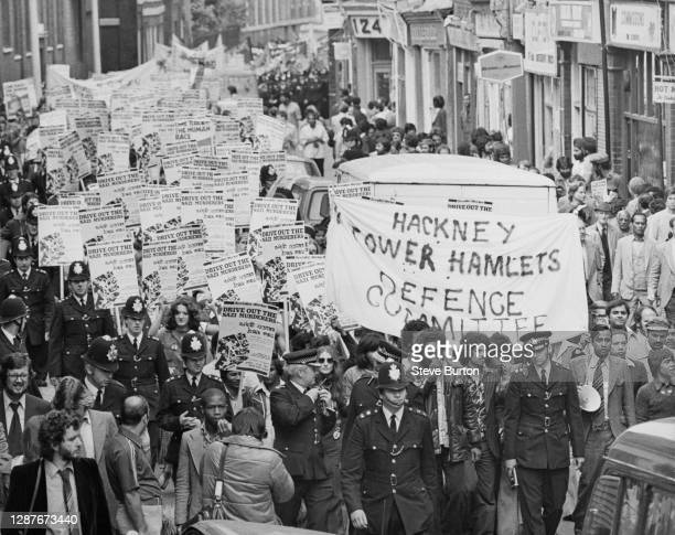 Anti-fascist demonstrators, organised by the Hackney and Tower Hamlets Defence Committee and the Anti-Nazi League , march to protest against National...