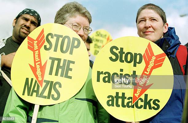 Antifascist demonstrators protest a neoNazi rally by the National Front April 7 2001 in the south London neighborhood of Bermondsey Bermondsey is an...