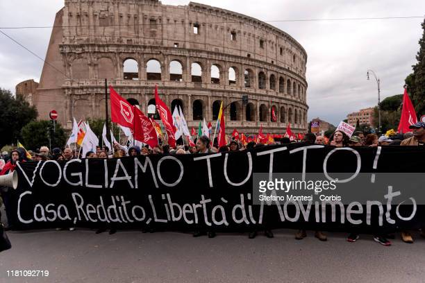 Anti-fascist people take part in the national demonstration against the racism and the Security Decree wanted by former Interior Minister Matteo...