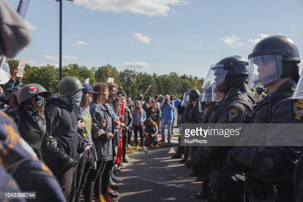 AntiFascists and Ohio State Police faced off for a short while after the Open Carry Rally went back to their starting point Kaitlin Bennett a former...