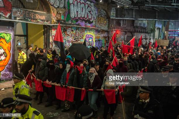 Antifascists march from the International Brigades memorial to Waterloo on October 31 2019 in London England Antifascists mobilised in central London...