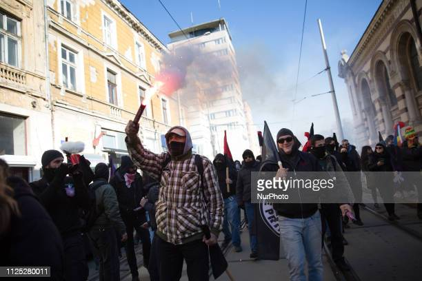 Antifascists marched to show their opposition to the annual Neo-Nazi Lukov March on February 16, 2019 in Sofia, Bulgaria.
