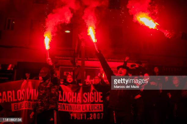 Antifascists marching with flares remembering Carlos Palomino a 16yearold who was killed 12 years ago stabbed by a neoNazi soldier when going to a...