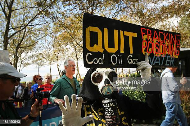 Antifracking and Keystone XL pipeline activists demonstrate in lower Manhattan on September 21 2013 in New York City Across the country numerous...