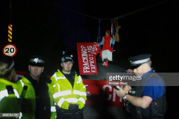 Anti-fracking climate activists from Reclaim the Power blocking a gate to Leapers Wood quarry, March 27th 2017 near Lancaster, United Kingdom. The...